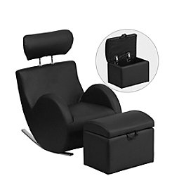 Flash Furniture HERCULES Series Vinyl Rocking Chair with Storage Ottoman