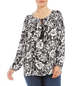 Jones New York® Plus Size Sketched Print Peasant Top