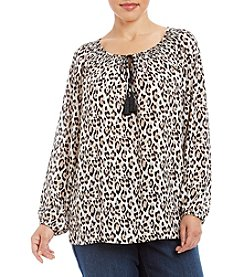 Jones New York® Plus Size Leopard Print Peasant Top