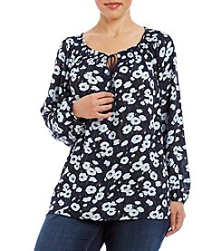Jones New York® Plus Size Floral Print Peasant Top