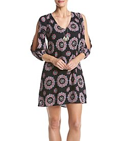 Sequin Hearts® Medallion Print Peasant Shift Dress With Necklace