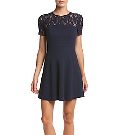 XOXO® Contrast Lace Yoke Fit And Flare Dress