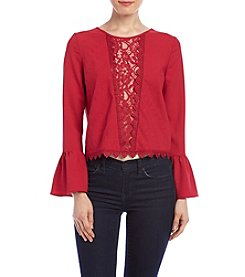 XOXO® Embroidered Bell Sleeve Peasant Top