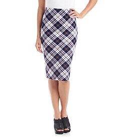 Sequin Hearts® Plaid Print Midi Skirt