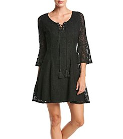 Sequin Hearts® Bell Sleeve Lace Peasant Dress