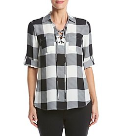 Sequin Hearts® Plaid Lace Up Tunic With Pockets
