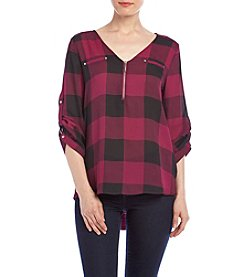 Sequin Hearts® Plaid Zip Front Utility Top