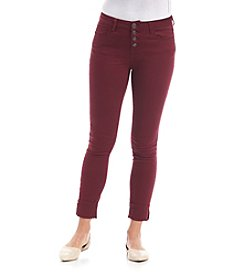 Hippie Laundry Mid Rise Exposed Button Skinny Jeans