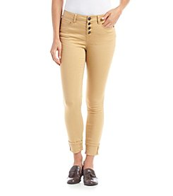 Hippie Laundry Mid Rise Exopsed Button Skinny Jeans