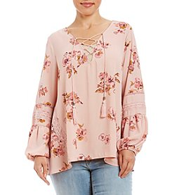 Skylar & Jade™ Plus Size Floral Printed Ghost Crepe Peasant Top