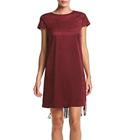 Kensie® Drapey Faux Suede Fringe Dress