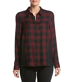 Kensie® Check Plaid Button Up Top