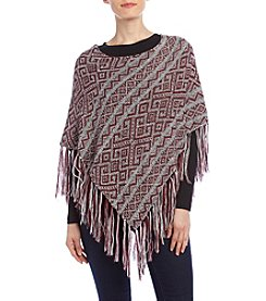 Hippie Laundry Geometric Print Poncho With Fringe