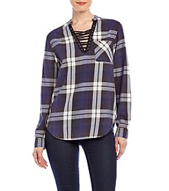Hippie Laundry Lace Up Acid Wash Plaid Top