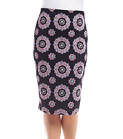 Sequin Hearts® Medallion Print Midi Skirt