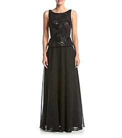 Calvin Klein Sequin Peplum Long Gown