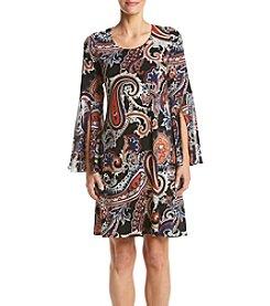 Prelude® Bell Sleeve Knit Woven Shift Dress