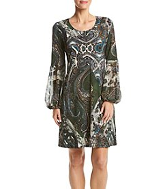 Prelude® Print Bell Sleeve Shift Dress