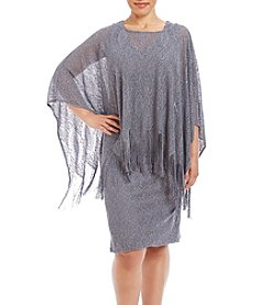 Jessica Howard® Plus Size Fringe Poncho Sheath Dress