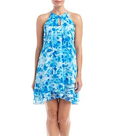 Calvin Klein Plus Size Halter Print Chiffon Shift Dress