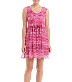 Calvin Klein Petites' Print Tie Waist Fit And Flare Dress