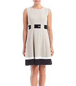 Calvin Klein Plus Size Belted Fit And Flare Dress