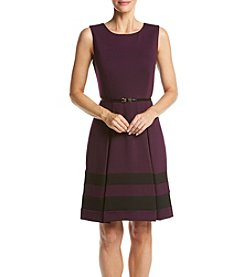 Calvin Klein Ponte Belted Fit And Flare Dress