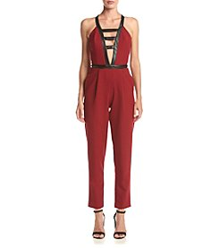 XOXO® Faux Leather Contrast Jumpsuit