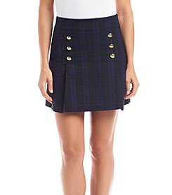 XOXO® Button Front Plaid Bengaline Skirt