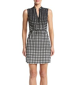 XOXO® Grid Print Necklace Trim Dress