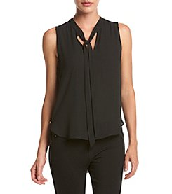 XOXO® Tie Neck Top With Side Zip Detail