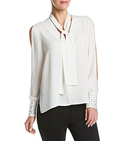 XOXO® Embellished Cuff Tie Front Top With Split Sleeves