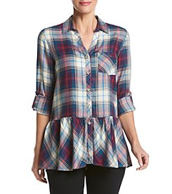 Sequin Hearts® Plaid Button Up Peplum Top