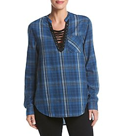 Hippie Laundry Lace Up Plaid  Top