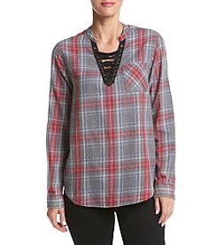 Hippie Laundry Plaid Acid Wash Lace-Up Top