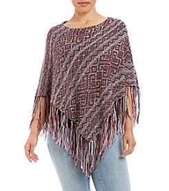 Hippie Laundry Plus Size Geometric Print Poncho With Fringe