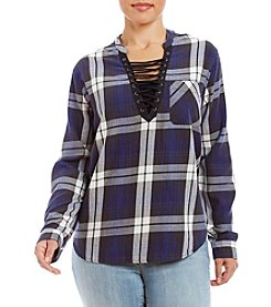 Hippie Laundry Plus Size Acid Wash Plaid Top