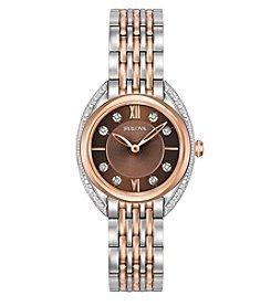 Bulova® Women's Diamond Two-Tone Brown Dial Watch