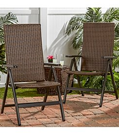 Greendale Home Fashions Set of 2 Hand Woven Wicker Outdoor Reclining Chairs