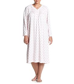 Miss Elaine ® Plus Size Printed Honeycomb Knit Nightgown
