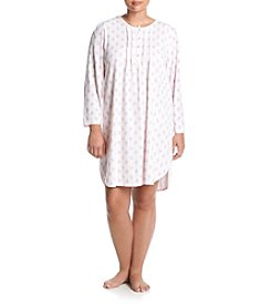 Miss Elaine® Plus Size Honeycomb Knit Long Sleeve Nightgown