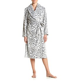 Jasmine Rose® Printed Plush Wrap Robe