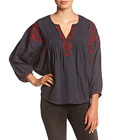 Hippie Laundry ® Embroidered Gauze Peasant Top