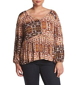 Jessica Simpson Plus Size Fonda Print Open Sleeve Peasant Top