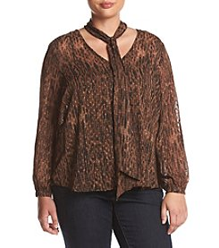 Jessica Simpson Plus Size Cerena Clip Dot Print Top