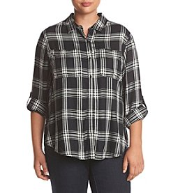 Jessica Simpson Plus Size Dion Plaid Shirttail Top