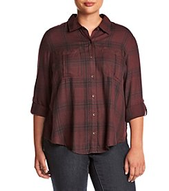 Jessica Simpson ® Plus Size Dion Plaid Shirttail Top