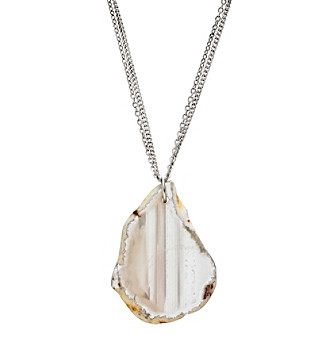 Ruff Hewn Agate Slice Silvertone Chain Necklace