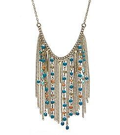 Ruff Hewn Brasstone Bead Chain Fringe Bib Necklace