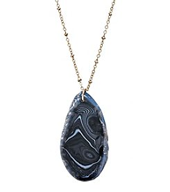 Ruff Hewn Agate Slice On Silvertone Chain Necklace